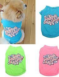 Kat Hund T-shirt Hundetøj Cosplay Bryllup Bogstav & Nummer Grøn Blå Lys pink Kostume For kæledyr