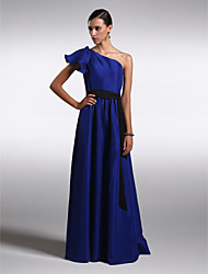 cheap -Sheath / Column One Shoulder Floor Length Chiffon / Satin Bridesmaid Dress with by LAN TING BRIDE®