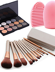 cheap -12Pcs Cosmetic Makeup Tool Blush Foundation Brush Set Box +15Colors Shimmer Eyeshadow Palette+1PCS Brush Cleaning Tool