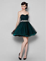 cheap -A-Line Sweetheart Neckline Knee Length Tulle Cocktail Party / Prom Dress with Side Draping by TS Couture®