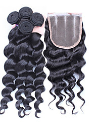 cheap -4Pcs/Lot 10''-30'' Brazilian Virgin Hair Lace Closure with Wefts Unprocessed Loose Wave Hair Bundles