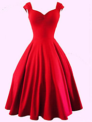 cheap -Women's Plus Size Vintage Cotton A Line Dress - Solid Colored Red Sweetheart