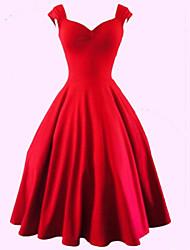 abordables -Femme Grandes Tailles Rétro Coton Trapèze Robe Couleur Pleine Coeur Mi-long Rouge