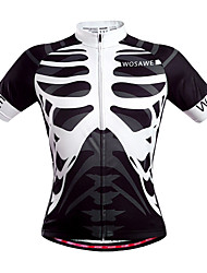 cheap -WOSAWE Men's Short Sleeves Cycling Jersey - Black/White Skull Bike Jersey, Quick Dry, Breathable, Sweat-wicking