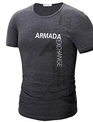 T-shirt Uomo Casual / Da ufficio / Formale / Attività sportive Con stampe Misto cotone Manica corta-Verde / Rosso / Bianco / Grigio