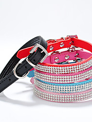cheap -Dog Collar Adjustable / Retractable Handmade Mosaic Hearts Rhinestone PU Leather Black Purple Red Green Blue