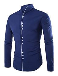 baratos -Masculino Camisa Escritório Cor Solida Manga Comprida Poliéster Preto / Azul / Branco