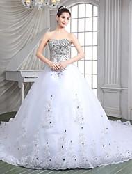 Linea-A A cuore Strascico da cattedrale Organza Vestito da sposa con Perline Lustrini Con applique di Shiqiushi