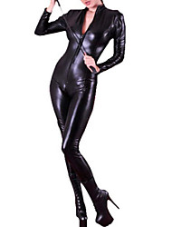 cheap -Zentai Suits Morphsuit Uniforms Zentai Cosplay Costumes Black Solid Catsuit PU Leather Female Halloween Christmas New Year