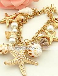 cheap -Women's Pearl Cuff Bracelet - Imitation Pearl, Shell Unique Design, Bohemian, Fashion Bracelet Golden For Daily / Casual