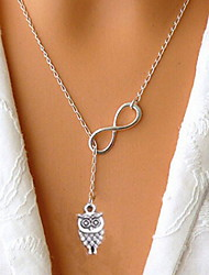 Women's Silver Lucky Numbers 8 Short Owl Necklace