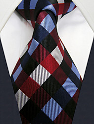 cheap -U2 Shlax&Wing Checkered Blue Red Neckties Men Ties Classic Business Long Size