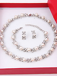 cheap -Women's Jewelry Set Stud Earrings Pearl Necklace Pearl Strands Pearl Pearl Imitation Diamond Circle Elegant Wedding Party Anniversary