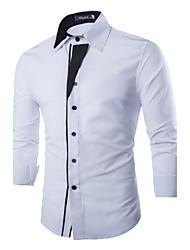 Masculino Camisa Casual / Escritório Cor Solida Manga Comprida Poliéster Preto / Branco