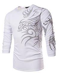 cheap -Men's Daily Sports Formal Plus Size Work Boho T-shirt,Print Long Sleeves Polyester Spandex