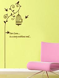 style Stickers muraux autocollants de mur de vol d'oiseaux et cage à oiseaux muraux PVC autocollants