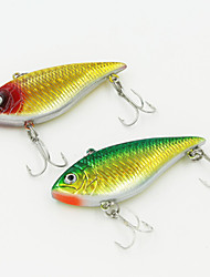 70mm 12g Gold/Green Plastic Vibration Fishing Lures with 6# Hooks