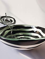abordables -Lavabo de Baño Grifería de Baño Anillo de Montura de Baño Drenaje de Baño Moderno - Vidrio Templado Redondo