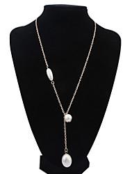 billige -kvinders europæisk stil mode enkel oval vedhæng legering halskæde