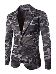 cheap -Men's Camouflage Casual Blazer,Others Long Sleeve Green / Gray