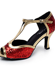 Недорогие -Женская обувь - Искусственная кожа - Номера Настраиваемый (Черный/Красный/Серебряный) - Латино/Сальса