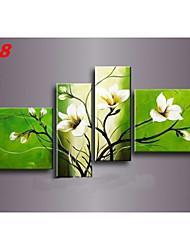 pintados à mão pintura a óleo abstrata flor na lona 4pcs / set sem moldura