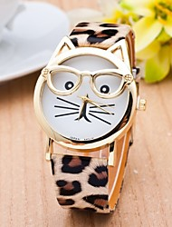 cheap -Cat Watch With Glasses Women Quartz Watches Reloj Mujer Relogio Feminino Leather Strap Watch Cool Watches Unique Watches Fashion Watch