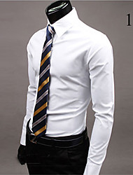 Camisa Casual ( Acrílico / Algodão Organico ) MEN - Casual Colarinho de Camisa - Manga Comprida