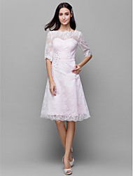 A-Line Bateau Neck Knee Length Lace Satin Bridesmaid Dress with Beading Lace by LAN TING BRIDE®