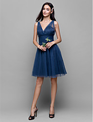 cheap -A-Line V Neck Knee Length Tulle Bridesmaid Dress with Criss Cross by LAN TING BRIDE®