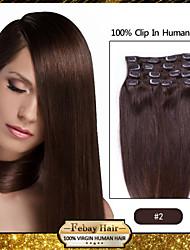 Недорогие -клип в расширениях волос темно-коричневый (цвет 2 #)