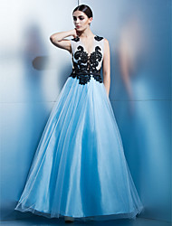 A-Line Jewel Neck Ankle Length Tulle Prom Formal Evening Black Tie Gala Dress with Appliques by TS Couture®