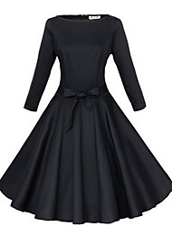 cheap -Women's Party Going out Vintage A Line Dress,Solid Round Neck Knee-length 3/4 Length Sleeves Cotton Spring Fall