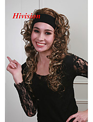 "New 3/4 Wig With Headband Light Reddish Brown with Blonde highlights 26"" Long Curly Women's Half Wig"