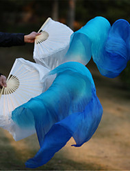 cheap -Hot Selling Belly Dance 100% Real Silk Fan Veils Silk Fabric White/Sky Blue/Blue 2pcs/L+R