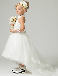 A-Line Floor Length Asymmetrical Flower Girl Dress - Polyester Lace Tulle Sleeveless High Neck with Beading by thstylee