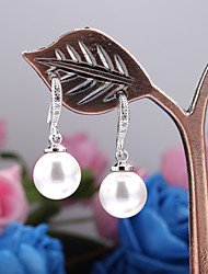 abordables -Mujer Perla Pendientes colgantes - Perla, Perla Artificial, Zirconia Cúbica Moda Blanco / Negro Para / Chapado en Oro / Black Pearl