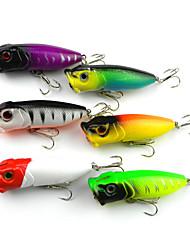 """6 pçs Popper de Pesca Iscas Popper de Pesca Branco Amarelo Roxo verde claro verde floresta Prateado Cores Sortidas g/Onça,65mm mm/2-5/8"""""""
