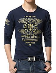 Masculino Camiseta Algodão / Poliéster Estampado Manga Comprida Casual / Escritório / Esporte / Tamanhos Grandes-Preto / Azul / Branco