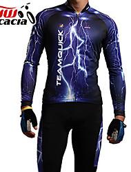 Acacia Dugih rukava Biciklistička majica s tajicama - Plava Bicikl Biciklistička majica Kompleti odjeće, Anatomski dizajn, Prozračnost