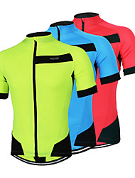 Arsuxeo Cycling Jersey Men's Short Sleeves Bike Jersey Quick Dry Anatomic Design Front Zipper Breathable Lightweight Materials Reflective