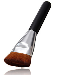 Flat Contour Brush Big Face Cheeks Blend Makeup Brush Beauty Silver Nozzle And Brown Brush