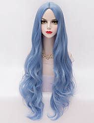 Long Loose Wavy U Part Hair Sky Blue Heat-resistant Synthetic Fashion Party Wig