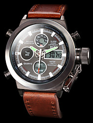 cheap -Men's Wrist Watch Japanese Alarm / Calendar / date / day / Chronograph Leather Band Luxury Brown / Water Resistant / Water Proof / Luminous / LCD / Dual Time Zones / Two Years