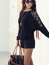 Women's Patchwork/Lace White/Black Blouse , Round Neck ½ Length Sleeve Lace
