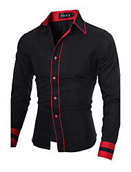 cheap -Men's Plus Size Cotton Slim Shirt - Color Block Black & Red Classic Collar