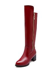 billige -Kunstlæder-Modestøvler-Dame-Sort Hvid Burgunder-Formelt-Tyk hæl
