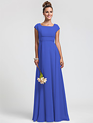 cheap -Sheath / Column Square Neck Floor Length Chiffon Bridesmaid Dress with Sash / Ribbon Pleats by LAN TING BRIDE®