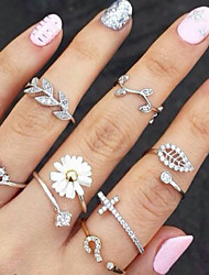 cheap -Women's Knuckle Ring Basic Fashion Costume Jewelry Rhinestone Imitation Diamond Alloy Flower Leaf Jewelry For Party Daily Casual