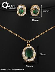 Women's Crystal Jewelry Set Brand 18K Gold Plated Party synthetic gemstone jewelry Sets Fashion Rhinestone Jewelry